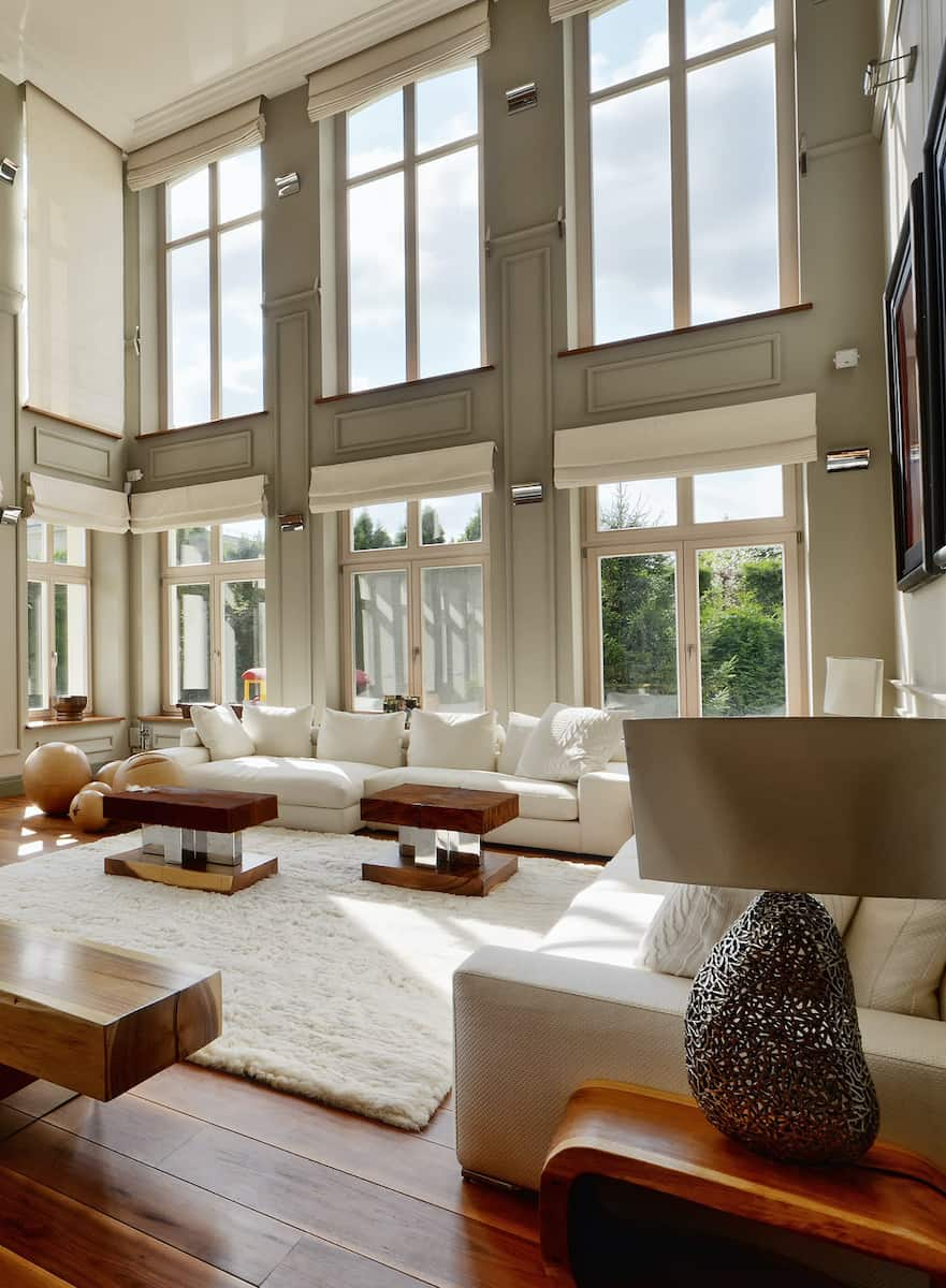 Automated shades living room